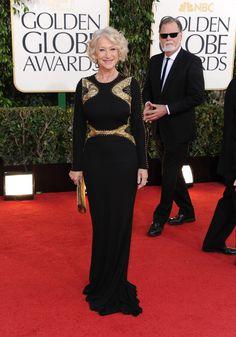 Helen Mirren in Badgley Mischka at the 2013 Golden Globes