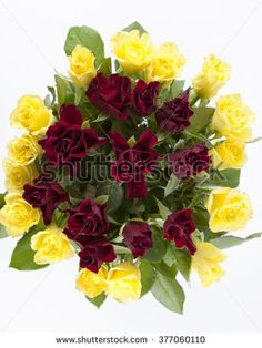 Arrangement with red and yellow roses