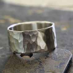 14k White Gold Hammered Wide Band Wedding Ring from Praxis Jewelry