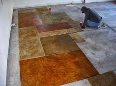 Flooring : How to Stain Concrete Floors Concrete Floor' Staining Concrete' Painting Concrete Floors and Painted Concrete Floors' How Much Does Concrete Cost' Concrete Flooring as well as Flooring - Best Source of DIY Home Improvement Concrete Paint Colors, Diy Concrete Stain, Acid Stained Concrete, Painted Concrete Floors, Painting Concrete, Concrete Tiles, Paint Cement, Concrete Kitchen, Stain Colors