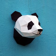 Papercraft Panda Head Printable Diy Template 6 By Wastepaperhead Paper Head, 3d Paper, Paper Toys, Paper Mask, Diy Panda, Cuento Pop Up, Paper Crafts Origami, Fabric Origami, Deco Originale