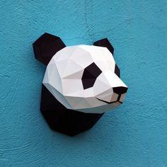 Papercraft panda head printable DIY template 6 by WastePaperHead