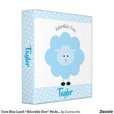 "Cute Blue Lamb ""Adorable Ewe"" Modern Girly School 3 Ring Binder"