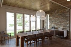 one pendant light over long dining table - Google Search