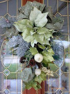 Poinsettia Door Swag  Christmas Wreath  by JulieButlerCreations