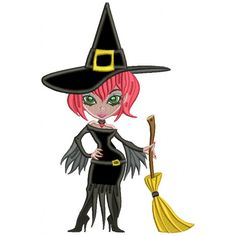 Sassy But Classy Witch Holding a Broomstick Halloween #Applique Machine Embroidery Design Digitized Pattern