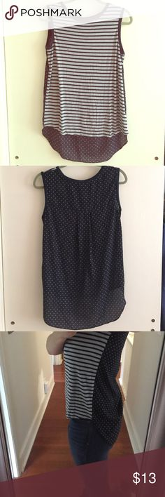 Cute tank top (read description) This tank has been worn once. (Got a little wrinkly in the wash). It says small but Fits more like a Medium.  The front is 100% rayon. Super soft jersey like material. The back is 100% polyester. A stiffer, translucent, blouse like material. 🚭 From a non smoking household. Stylus Tops Tank Tops