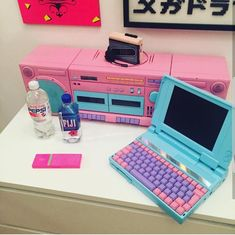 Saw this on insta and thought It belonged here Aesthetic Objects, Aesthetic Room Decor, Retro Aesthetic, Vaporwave Fashion, Kawaii Room, Game Room Design, Gamer Room, Star Citizen, Cool Things To Buy