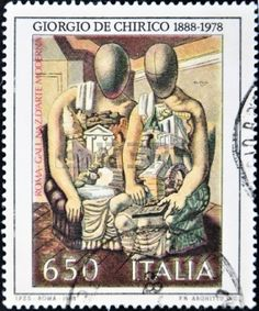 ITALY - CIRCA 1988: A stamp printed in Italy shows the work Archaeologists in Giogio de Chirico, National Gallery of Modern Art in Rome, circa 1998  photo