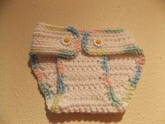 Crochet Newborn White with Rainbow trim by MrsSchafferCreations, $10.00