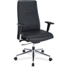Lorell Leather Suspension Chair, Black