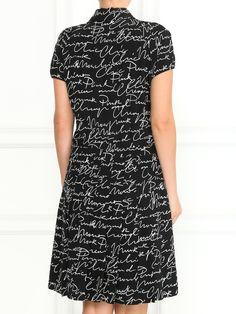 Купить со скидкой Moschino черное платье-рубашка из шелка с узором и короткими рукавами (97437) – распродажа в Боско Аутлет