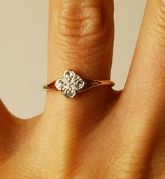 edwardian antique 18k gold diamond clover ring