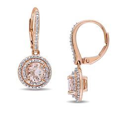 Morganite and CT. Diamond Double Frame Drop Earrings in Rose Gold Girls Earrings, Women's Earrings, Peoples Jewellers, Diamond Drop Earrings, Diamond Stone, Fashion Earrings, Jewelry Accessories, Rose Gold, Double Frame