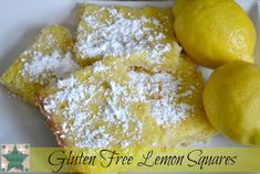 Gluten Free Lemon Squares Recipe Before I was diagnosed with Celiac Disease, my grandparents used to buy me the yummiest lemon bars at the local bakery. Gluten Free Cookie Recipes, Gluten Free Sweets, Gluten Free Cookies, Flour Recipes, Lemon Squares Recipe, Squares Recipes, Delicious Desserts, Dessert Recipes, Yummy Recipes