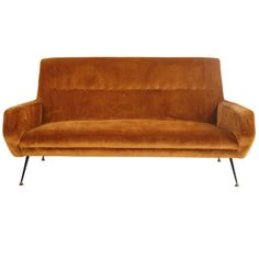 Mid-Century Italian Velvet Sofa | From a unique collection of antique and modern sofas at http://www.1stdibs.com/furniture/seating/sofas/