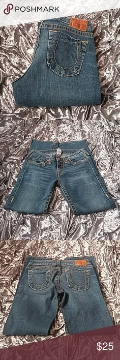 """VINTAGE JEANS Awesome Condition and Maybe worn 3x.. All original factory distressing besides the length being altered.. These run on the smaller side.. Waist 15"""" Inseam 30"""" True Religion Jeans Boot Cut"""