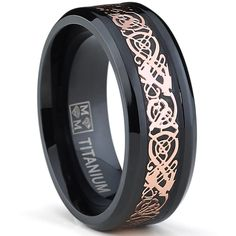 Amazon.com: 8MM Men's Black Titanium Wedding Band Ring with Pink Celtic Dragon Inlay, Comfort Fit: Jewelry