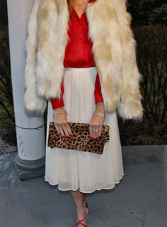 Ivory & red + Clare V. leopard foldover clutch