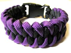 Purple and Black Piranha Survival Bracelet