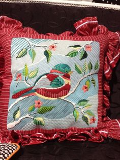 I love the use of different stitches in this. Needlepoint can be so much more than just Continental or Basketweave stitch. :) Shelly Tribbey