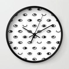 Black eyes Wall Clock by laurafrere Graphic, Clock, Patterns, Eyes, Bedroom, Wall, Stuff To Buy, Pattern, Drawing Drawing