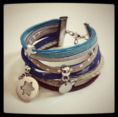 Check the way to make a special photo charms, and add it into your Pandora bracelets. Bracelet manchette liberty beige/bleu