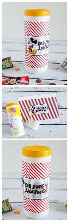 DIY Disney Bank | Recycle an old container into the cutest Disney bank.