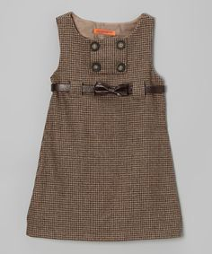 Take a look at this Brown Tweed Bow Belted Dress - Toddler & Girls by Funkyberry on #zulily today!