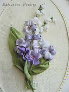 White and violet flowers #ribbonEmbroidery