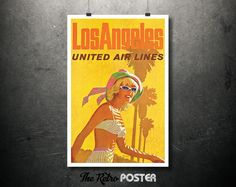 1970s Los Angeles - United Air Lines - Vintage Travel Tourism Poster or Canvas // High Quality Fine Art Reproduction Giclée Print by TheRetroPoster on Etsy