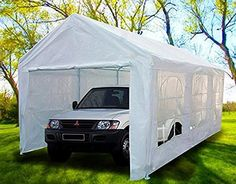 Peaktop® Heavy Duty Portable Carport Garage Car Shelter Canopy Party Tent Sidewall with Windows White Deck With Pergola, Cheap Pergola, Covered Pergola, Gazebo, Small Pergola, Pergola Cover, Carport Kits, Carport Garage, Pergola Kits