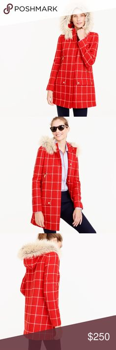 NEW J. Crew Chateau Parka in Windowpane Check 00 In excellent, like-new condition! No flaws or signs of wear. Size 00. Wool. Removable faux-fur hood. J. Crew Jackets & Coats