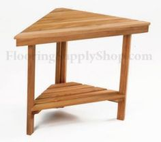 """Teak Corner Bench Small    Overall Dimensions: 18"""" H x 17"""" W x 8 1/2"""" D    Feature        * Perfect for smaller showers and small corner spaces      * A perfect shaving step!.      * Made of natural teak wood      * Comes pre-assembled and ready to use      * Ideal for use in or out of the shower and or high-moisture areas    Plantation Teak    Our FSC certified Plantation Teak comes from trees harvested from an actual plantation of younger Teak trees. Since we only use the heartwood of the…"""