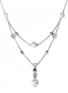 Lucea 18K White Gold Diamond & Pearl Necklace