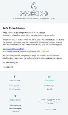 Boldking.com - Vervolg verlaten winkelwagenmail met korting (4 dagen na eerste mail)