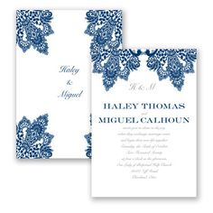 Begin your day of a lifetime with a wedding invitation featuring the time-tested classic of lace. Both sides of the two-sided invitation display corners embellished with printed lace. Add your personalization to complete the design.   Product Details:    Invitation Size: 5' x 7'   Card Type:   Flat non-folding   Prints In: Flat, Digital Ink  Ink Color: Choose from a variety of ink options including David's Bridal exclusive colors  Choice of fonts and verses Price Includes: Invitat...