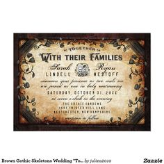 """Brown Gothic Skeletons Wedding """"Together With"""" Card"""