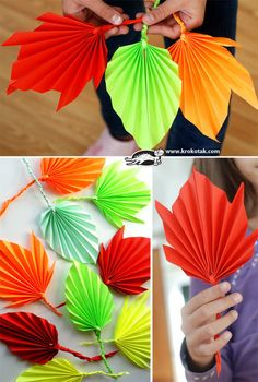 Folded paper leaves - Fall crafts for kids Kids Crafts, Easy Fall Crafts, Leaf Crafts, Fall Crafts For Kids, Thanksgiving Crafts, Crafts To Do, Holiday Crafts, Art For Kids, Craft Projects
