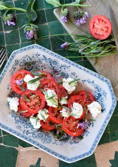 Fresh goat's curd, roma tomatos and herb salad Goats Curd, Olive Oil Juice, Herb Salad, Sliced Tomato, Xmas Food, Roma Tomatoes, No Dairy Recipes, Serving Platters, Caprese Salad