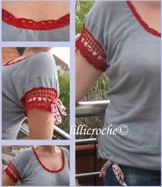 T-Shirt Makeovers - Crochet T-Shirt Makeover - Awesome Way to Upcycle Tees - Cool No Sew Tshirt Cutting Tutorials, Simple Summer Cutouts, How To Make Halter Tops and T-Shirt Dresses. Easy Tutorials and Instructions for Teens and Adults http:diyprojectsforteens.com/diy-tshirt-makeovers
