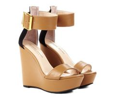 New Julianne Hough Tate Colorblock Chunky Buckle Ankle Strap Sandal Wedges 9.5 #JulianneHough #PlatformsWedges