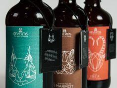 Revertis Beer Packaging Design by Meng-Yao Liu, via Behance Beverage Packaging, Bottle Packaging, Brand Packaging, Craft Beer Labels, Beer Brands, Pretty Packaging, Branding, Packaging Design Inspiration, Label Design