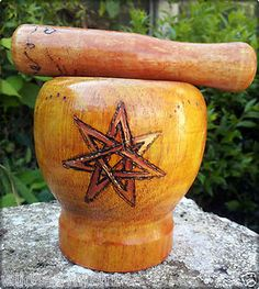 FAERIE STAR Wooden Mortar & Pestle for Spells HERBS Rituals & Altar PAGAN Wicca....OMG this is gorgeous and beautifully crafted...wow!