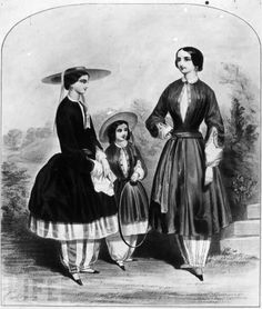 Ms. Bloomer! American women's-rights activist  Amelia Jenks Bloomer picked up and promoted the wearing of loose pants instead of restrictive dresses and skirts of the period. Her name became associated with the much-ridiculed fashion..