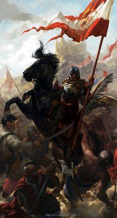 Polish Winged Hussar Bannerman- by wildheadache
