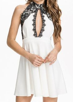 Fashion Halter Sleeveless Hollow Out Lace Embellished Women's Dress #Fashion #Style #Women #Dress