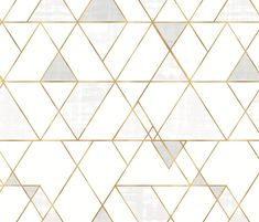 Mod-Triangles_white-gold wallpaper only - repeat fabric by crystal_walen on Spoonflower - custom fabric Gold Geometric Wallpaper, White And Gold Wallpaper, Geo Wallpaper, Custom Wallpaper, Peel And Stick Wallpaper, Gold Accent Wallpaper, Bathroom Wallpaper Modern, Kitchen Wallpaper, Wall Decor Design