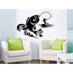 Fishing Male Hobbies Fish Nibble Teens Nursery Baby Room Home Decor Art Sticker Decal size 44x52 Color