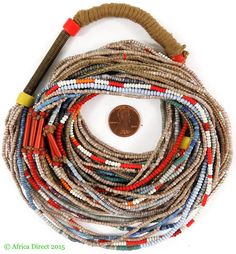 Fulani Necklace Seed Trade Beads 16 Strands Blue Africa - Necklaces - Ethnic Jewelry